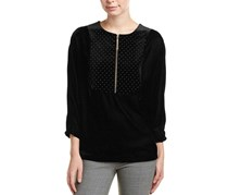 T Tahari Womens Embellished Velvet Top, Black