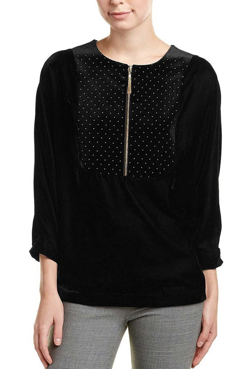 Womens Embellished Velvet Top, Black