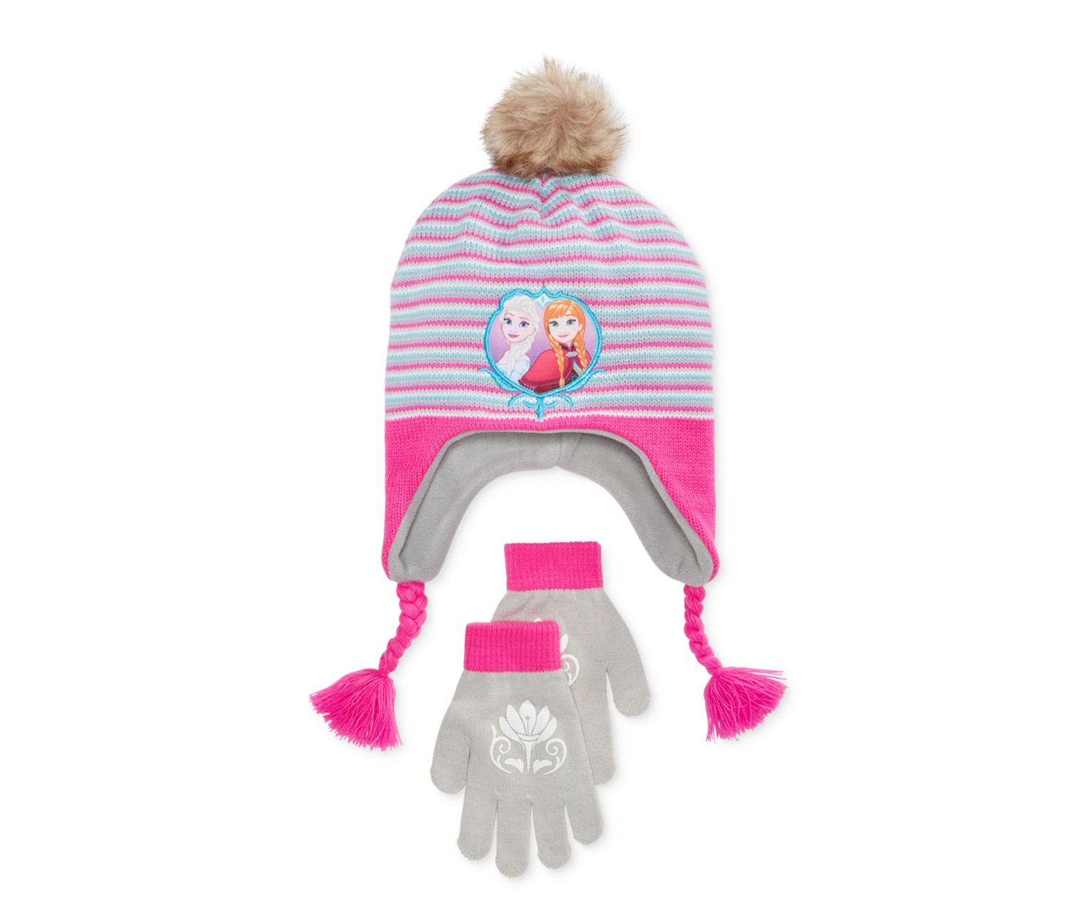 Berkshire 2-Piece Frozen Anna Elsa Hat And Gloves, Grey/Pink