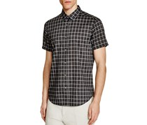 Theory Zack Ps Check Slim Fit Button Down Shirt, Dark Grey