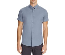 Theory Sylvain Wealth Short Sleeve Button Down Shirt, Blue