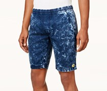 Lrg Men's Smiley Face Acid-Wash Shorts, Navy