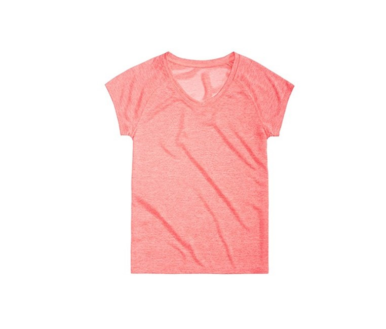 Girls Heathered V-Neck T-Shirt, Coral Comp