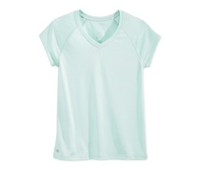 Ideology Girls' Heathered V-Neck T-Shirt,Mint Moment