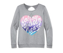 Ideology Girls' Follow Your Heart Graphic-Print Sweatshirt, Charcoal Heather