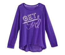 Ideology Girls Graphic Long-Sleeve T-Shirt, Blazing Purple