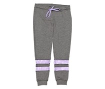 Ideology Girls Banded Pants, Charcoal Heather/Purple