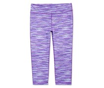 Ideology Striped Active Cropped Leggings, Purple Barcode