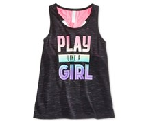 Ideology Play Like A Girl Graphic-Print Sleeveless Shirt, Noir