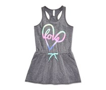 Ideology Girls Racerback Graphic Dress, Charcoal Grey
