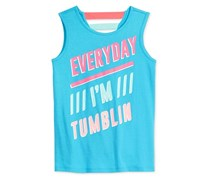 Ideology Everyday I'm Tumblin' Graphic-Print Tank Top, Aqua Quartz