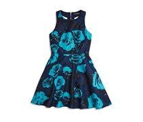 Miss Behave Girls' Betty Floral T Back Dress, Navy