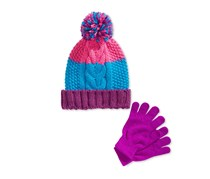 Berkshire Girls' 2-Pc. Pom-Pom Hat & Gloves Set, Purple