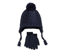 Berkshire Boys' 2-Pc. Cable-Knit Pom-Pom Hat & Gloves Set, Navy Blue