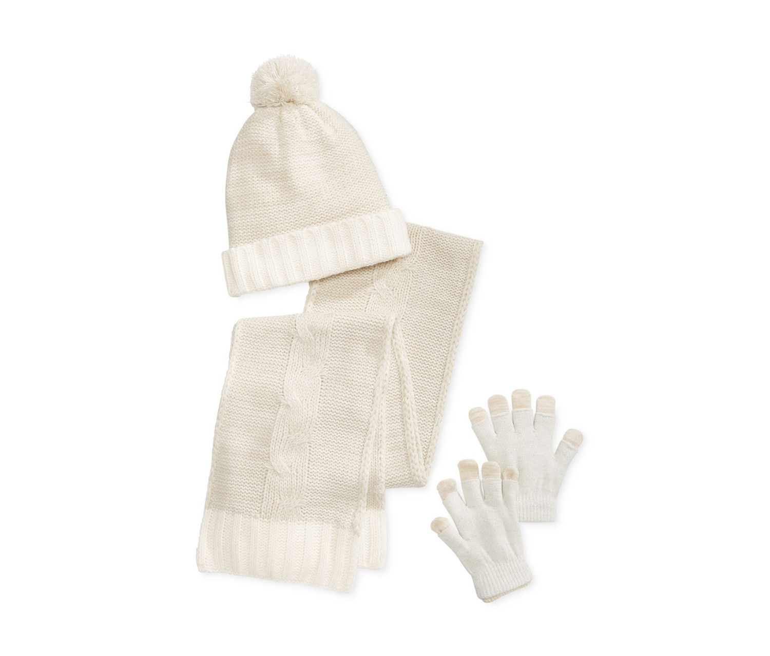 Berkshire Girls' Hat, Scarf & Adjustable Gloves Set, Ivory