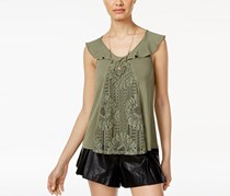 Gypsies Moondust Lace-Front Ruffle Tank Top, Sage