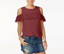 Gypsies & Moondust Juniors Ruffle-Trim Cold-Shoulder Top, Cedar