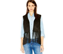Wildflower Faux Suede Fringe Vest,Black