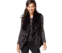 Wildflower Faux fur Vest,Black