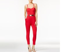 Material Girl Strapless Jumpsuit, Lipstick