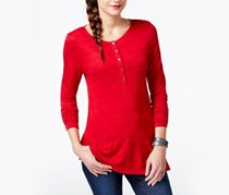 G.H Bass & Co. Long-Sleeve Henley Top,Red