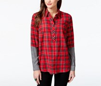 G.H. Bass Co. Faux-Sleeve Plaid Shirt, Apple Combo