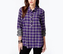 G.h. Bass & Co. Colorblock Sleeve Plaid Shirt, Purple