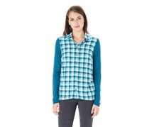 G.H. Bass & Co. Women Flannel Top, Aquamarine Combo