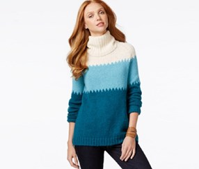 G.H. Bass Co. Colorblocked Cowl-Neck Sweater, Deep Turquoise