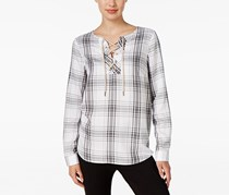G.h. Bass & Co. Plaid Lace-Up Top, White combo