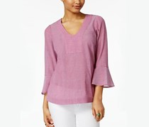 G.h. Bass & Co. Cotton Bell-Sleeve Top, Passion Pink