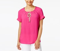 G.h. Bass & Co. Drawstring-Neck Top, Passion Pink