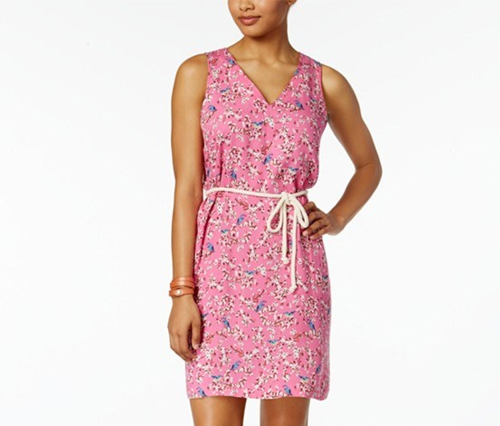 Cotton Belted Sheath Dress, Pink