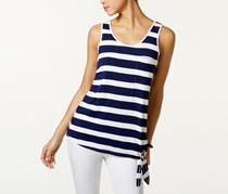 G.H. Bass Co. Striped Tie-Hem Top, Navy Water Combo
