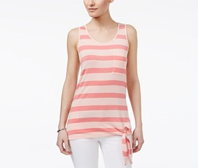 G.h. Bass & Co. Striped Tie-Hem Top, Coral Bliss