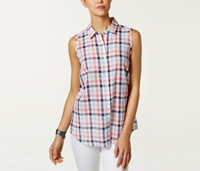 G.H. Bass & Co. Sleeveless Woven Top, Blue/Red/White