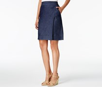 G.H. Bass Co. Denim Faux-Wrap Skirt, Dark Indigo