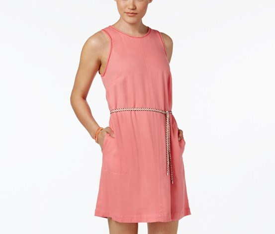 Belted Sheath Dress, Coral