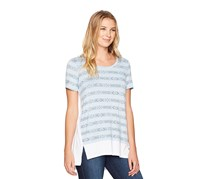G.H. Bass & Co. Women's Geo Stripe Shirt, Light Blue Combo
