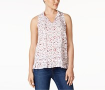 G.H. Bass Co. Ruffled Floral-Print Top, White Combo