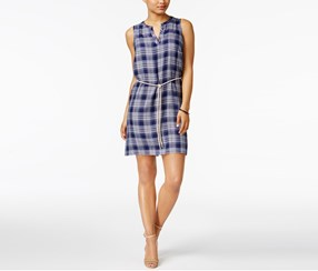 G.H. Bass Co. Plaid A-Line Dress, Navy French