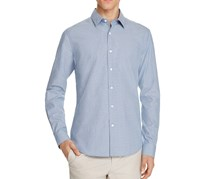 Theory Sylvain Micro Check Slim Fit Button-Down Shirt, Bright Sky Combo