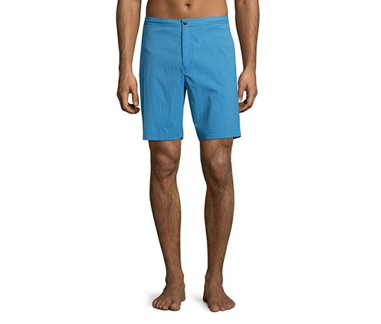 Alesso Cube-Print Swim Trunks, Bright Sky Combo