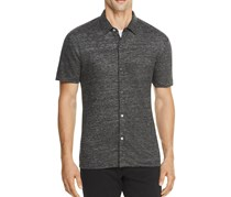 Theory Linen Knit Slim Fit Button-Down Shirt, Charcoal Heather
