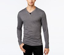Alfani Men's Leo Heather Long-Sleeve Shirt, Phantom Marl