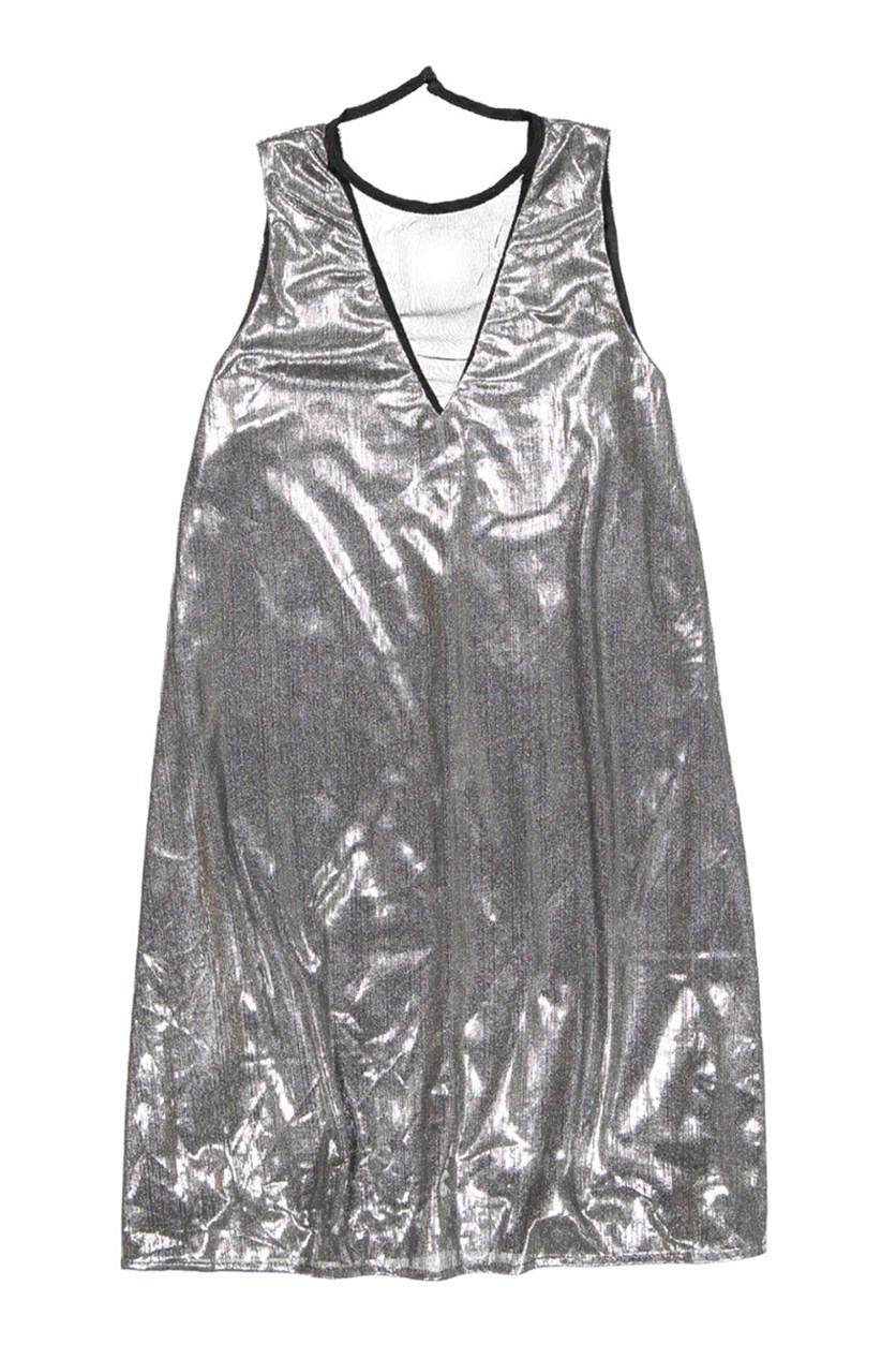 Women's Metallic Dress, Black/Silver