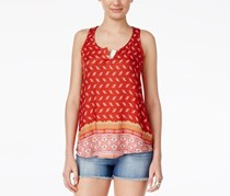 Hippie Rose Juniors' Printed Split-Neck Top, Burnt Orange Combo