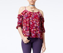 Hippie Rose Juniors' Cold-Shoulder Blouse, Berry Floral
