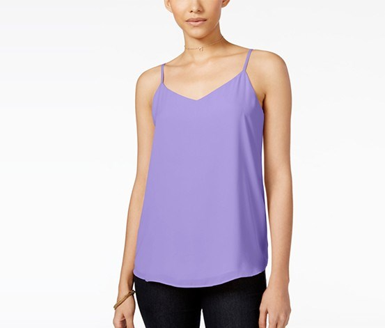 Juniors' V-Neck Tank Top, Lavender