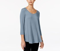 Hippie Rose Juniors' Lace-Up High-Low Swing Top, Serenity Blue